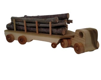 Wooden Toy Logging Truck with real logs, child safe glue is used, Made in USA; 1-YEAR WARRANTY, will ship 1-2 business days
