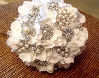 DEPOSIT | Custom Made  Brooch Bouquet | Rhinestone Pearl | Flower Petal Bouquet | Silk Flower Bridal Bouquet