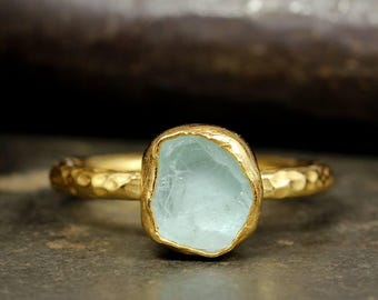 Raw Fluorite Natural Gemstone, Rough Handcrafted Hammered Stack 24K Yellow Gold over 925 Solid Sterling Silver Stack Designer Stackable Ring