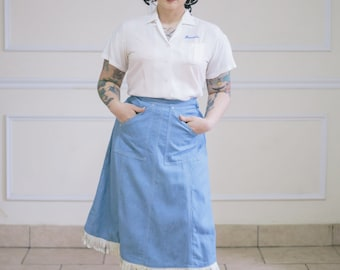 1940s/1950s Vintage Denim Pioneer Wear Western Skirt with pockets and White Fringe Hem