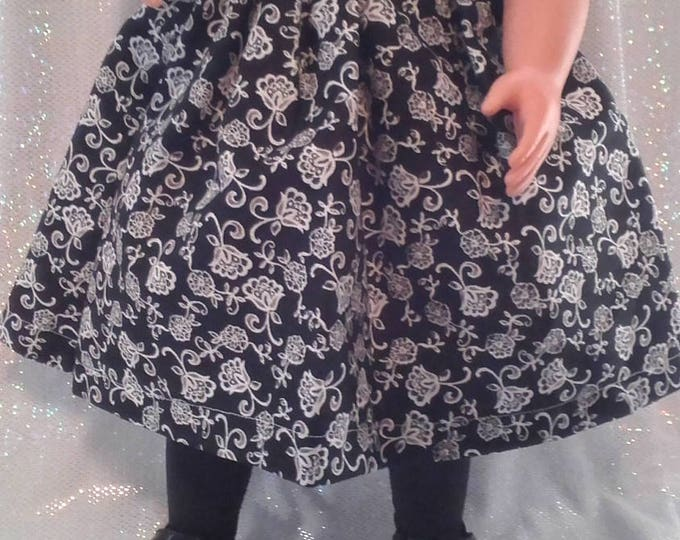 """18"""" doll clothes  handmade to Fit like American Girl, Black Polka Dot/Print Dress with Lace, Black Dress Shoes and Necklace FREE SHIPPING"""