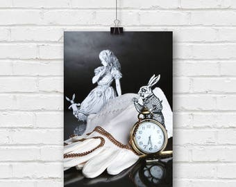 down the rabbit hole - alice in wonderland still life