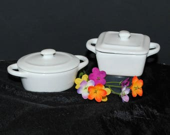 Doll Size Small Ceramic Casserole Dishes, Set of 2, Perfect Size for American Girl Dolls