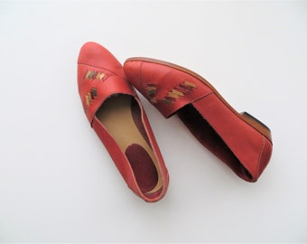 80s Santana Red Flats Retro Mod Slip Ons Made in Canada Women's US Size 7