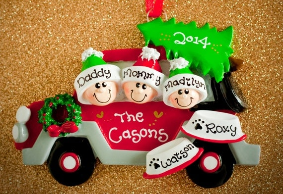 Red car family of 2 3 4 5 with two dogs personalized
