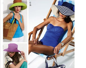McCall's M6577 Misses' Fashion Accessories Beach Hat and Tote Bag Sewing Pattern