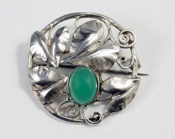 Theodor Fahrner Brooch, Theodor Fahrner Jewelry, Art Nouveau Pin, Theodor Fahrner Jugendstil Chrysoprase 935 Sterling Silver Leaf Pin Brooch