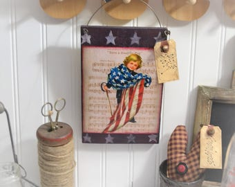 Wooden Patriotic Hanging Flag Decor American Stars Stripes Wall