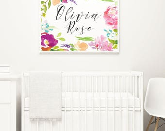 Custom Bright Floral Calligraphy Baby Name Poster, Custom Baby Name Print, Floral Nursery, Baby Girl Nursery Art, Custom Baby Shower Gift