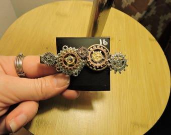 Steampunk Gears and Stars Barrette