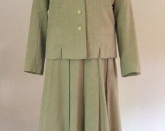 50s Taupe Towncliffe Wool Jacket and Skirt