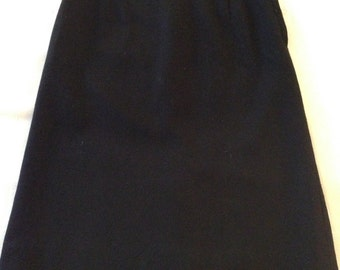 Black Wool Fitted Skirt from the Sixties, Waist 22 inches