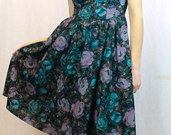 On Sale!!! All That Jazz 80s Boned Off The Shoulder Floral Dress