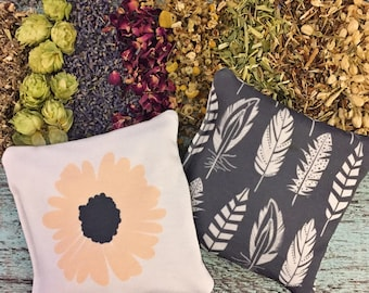 """Dream Pillow - """"Petals & Feathers"""" -  High Quality Aromatic Organic Herbs - Double Sided Design - Restful Sleep - Herbs for Sleep"""