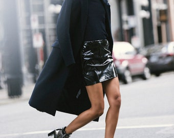 Black Patent Vinyl Faux Snake Leather High Waist Mini Skirt Minimal Grunge