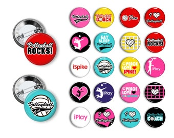 Volley Ball Volleyball Pin Back Button Party Favors  1.25 inch Buttons Student reward Team Pins buttons badges magnets