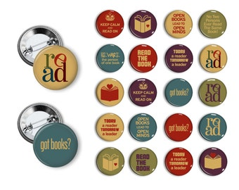 Book Lovers BookClub Librarian reading pins  Pin Back Button Party Favors Books Reading 1.25 inch Buttons