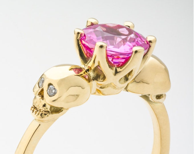 Women Gold Skull Engagement Ring with Natural Pink Sapphire Gemstone - All Sizes