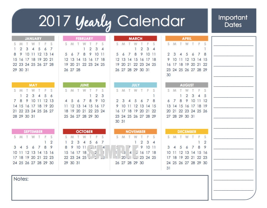 2017 Printable Calendar Yearly 2017 Calendar