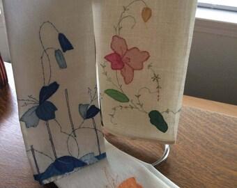 Vintage Set of 3 handmade fingertip linens 13 x 19 inch size