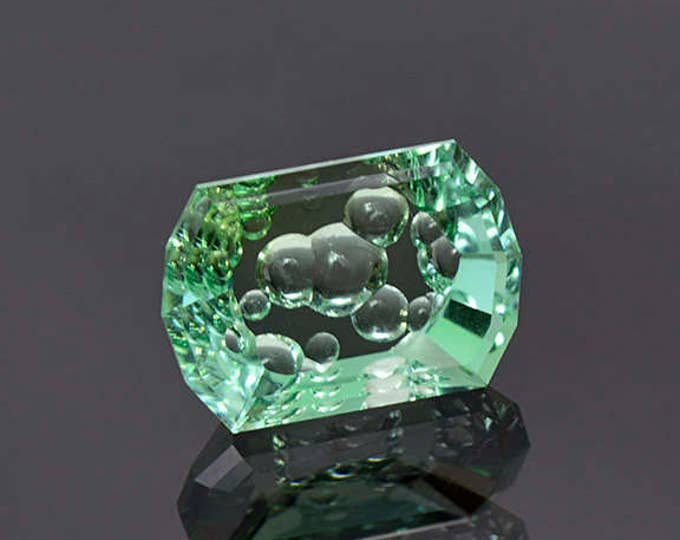 UPRISING SALE! Superb Bright Mint Green Tourmaline Bubble Carved Gemstone 5.08 cts.