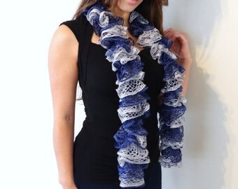 Gray Blue Scarf, Winter Scarf, Ruffle Scarf, Knit Scarf