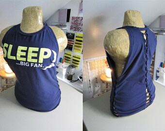 Sleep... Big Fan Refashioned Navy Blue T-Shirt into Tank Top with Back and Side Woven Cut-Outs