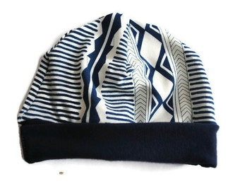 Navy Aztec Newborn Beanie Hat - Baby Accessories - Baby Hat - Newborn Hat