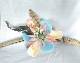Flower Feather Hair Clip - Boho Etsy Hair Fascinator - Woodland - Gypsy - Mori  Girl -Upcycled Art to Wear