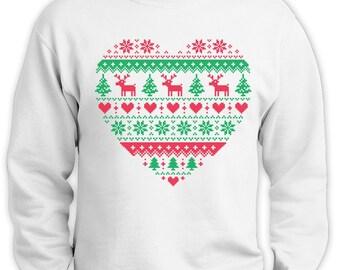 Heart Shaped Ugly Christmas Sweater Men's Crewneck Sweatshirt