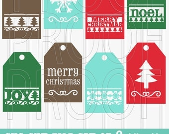 Christmas SVG File Set of 8 cut files includes svg/png/jpg formats! Commercial use approved! Christmas svg gift tag svg gift tag holiday svg