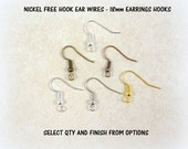 Earwires, NICKEL FREE Earrings Hooks - 18mm Hook with Coil and Ball, Several Finish/Colors to Choose - Select Color and Qty from Options