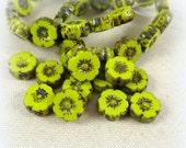 Czech Glass Flower Beads, Hibiscus Flower - Chartreuse Bright Green (FL9/RJ-0618) - 9mm - Qty. 8
