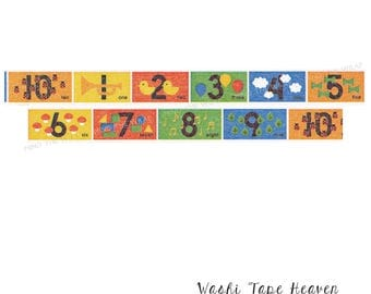"mt kids ""Numbers"" Japanese Washi Tape - 15mm x 7m - Bright Primary Colors - Learning Counting Fun Educational"