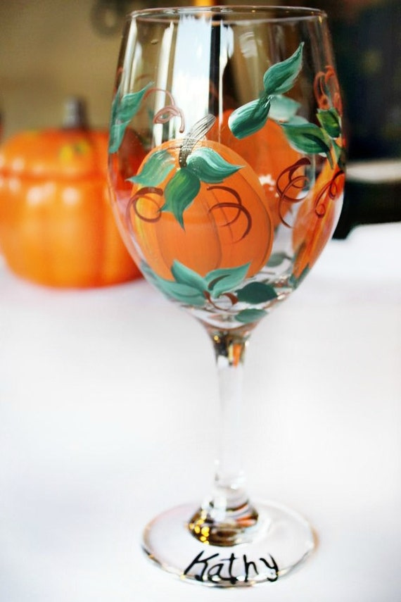 Items similar to pumpkin wine glass thanksgiving table