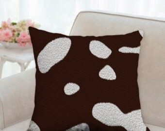 Brown and White Cow Hide Pillow (not real cow hide, it is printed on)