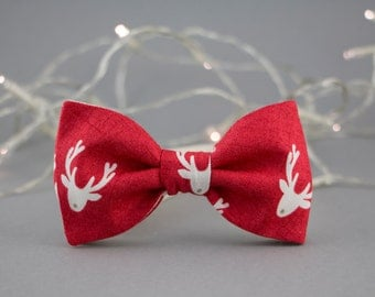 Children's Bow Tie Christmas Bow Tie Deer Antler Red Nose Reindeer Bow Tie for Kids Toddler Bow Tie Christmas Optional Set for Father Son