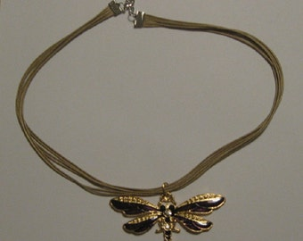 Purple and Goldtone Dragonfly Necklace