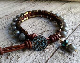 Leather Cross Bohemian Stacker Bracelet