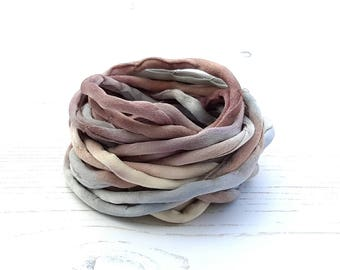Silk Cord hand dyed 3 meters grey brown silk string 4mm