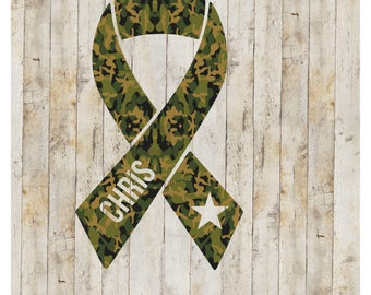 Military Support Decal, Army Strong Decal, Army Decal, Personalized military awareness ribbon, Military Awareness Decal