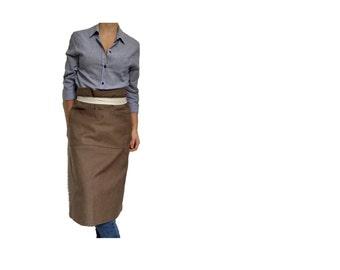 TAUPE COTTON APRON - Waist Apron, neutral cotton apron, canvas apron, Minimalistic Apron, long cotton Apron, Grilling Apron, Rustic Apron