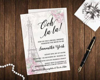 Ooh La La French Parisian Theme Digital DIY Printable Bridal Shower Invitation File - Eiffel Tower Wanderlust Blush Pink - FREE CustomColors