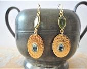 gemstone earring gold, peridot earring, topaz earring, gold earring dangle, drop earring,  elegant fashion gold earring, blue stone earring