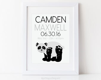 Monochrome Nursery Panda Bear Baby Footprint Art, Black White Room Decor, Personalized with Your Child's Actual Feet, 8x10 in, UNFRAMED