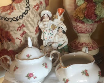 Shabby Country Cottage Rose Bavaria Sugar and creamer