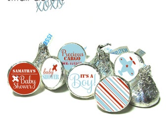 AIRPLANE Theme Baby Shower stickers ~ for Hershey's Kisses® Chocolate - Baby Shower