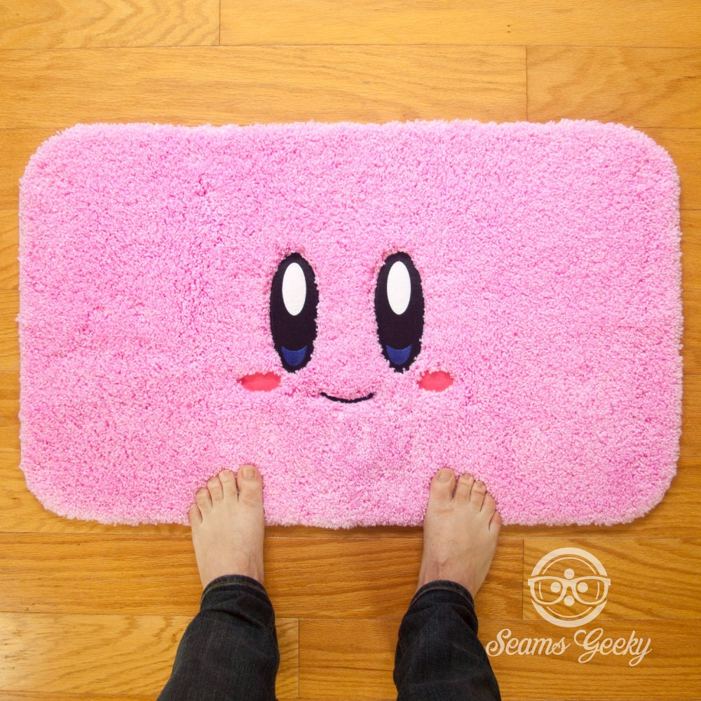 Funny bathroom rugs - Kirby Video Game Inspired Embroidered Bath Mat Or Rug
