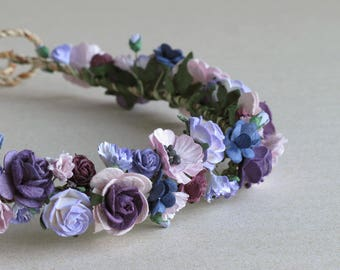 Purple Flower Crown - Paper flower headpiece - Made of mulberry paper and natural twine