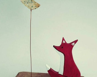 Everybody Can Dream: cute English fox & moon sculpture, winter, gift, brown, star, children's, nursery, wooden, original, vintage text,